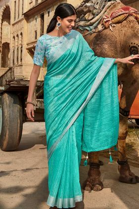 Sky Blue Jute Cotton Latest Saree Design