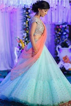 Sky Blue Lehenga Choli With Fancy Thread Work And Mono Net Dupatta