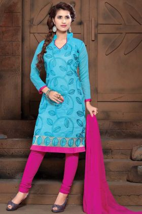 Sky Blue Modal Silk Straight Suit