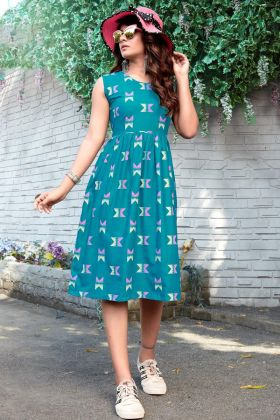 Sky Blue Pretty Tunic Patterned Rayon Kurti For Upcoming Trip