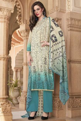 Sky Blue And Off White Cotton Printed Salwar Kameez