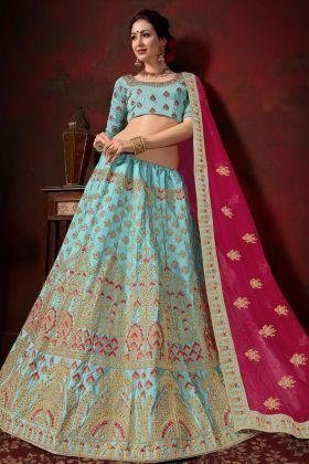 Sky Blue Color Bridal Lehenga Choli