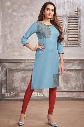 Sky Blue Color Cotton Kurti With Embroidery Work
