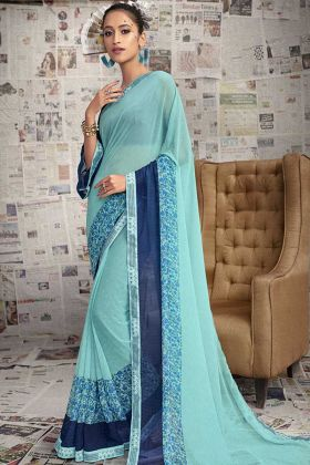 Sky Blue Color Designer Casual Georgette Saree