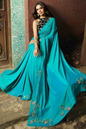 Sky Blue Color Embroidery Work Chanderi Designer Saree