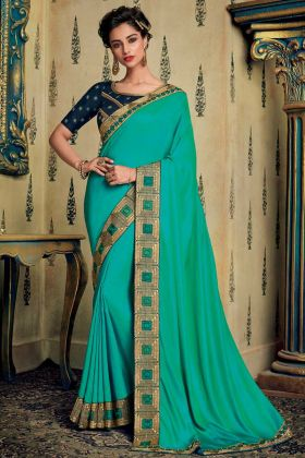 Sky Blue Color Embroidery Work Fancy Fabric Party Wear Saree