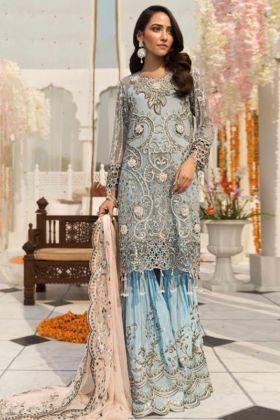 Sky Blue Color Heavy Faux Georgette Pakistani Salwar With Nazneen Dupatta