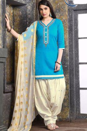 Sky Blue Color Jam Silk Cotton Patiala Salwar Suit With Embroidery Work