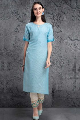 Sky Blue Color Pure Organic Pair Kurti With Silver Weaving Work