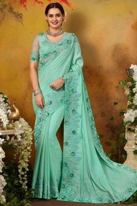 Sky Blue Color Pure Silk Saree With Thread Embroidery Work