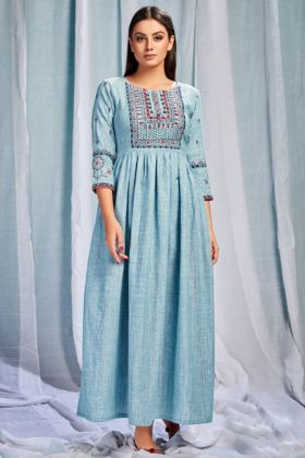 Sky Blue Color Pure South Cotton Kurti With Embroidery Work