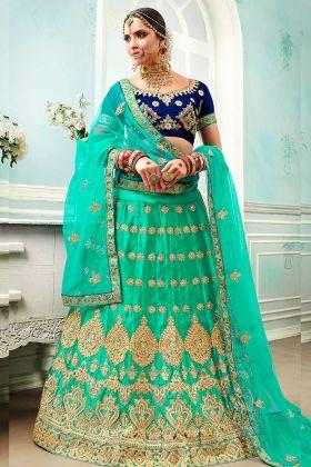 Sky Blue Color Satin Silk Reception Lehenga Choli With Heavy Zari Embroidery Work