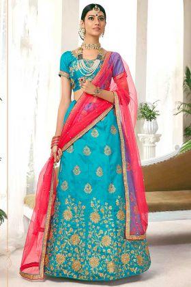 Sky Blue Color Silk Lehenga Choli With Heavy Zari Embroidery Work
