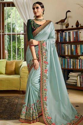 Sky Blue Color Silk Party Wear Saree