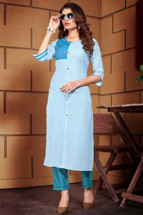Sky Blue Color Thread Work Linen Fancy Kurti