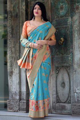 Sky Blue Color Weaving Work Art Silk Designer Saree