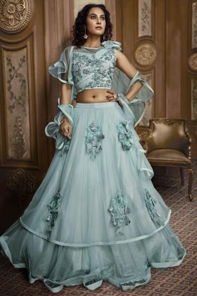 Sky Blue Designer Party Wear Net with Fancy Embroidery Work Lehenga