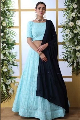 Sky Blue Georgette Semi Stitched Wedding Lehenga Choli