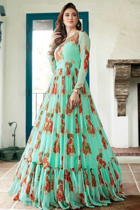 Sky Blue Heavy Faux Georgette Hand Work Party Wear Gown