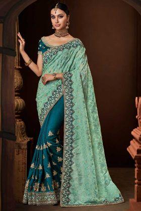 Sky Blue Lurex Tissue Pallu Morpeach Handloom Silk Saree