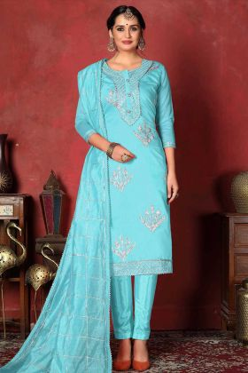 Sky Blue Modal Cotton Dress Material