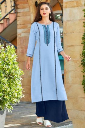 Sky Blue Palazzo Designer Kurti Set With Embroidery Work