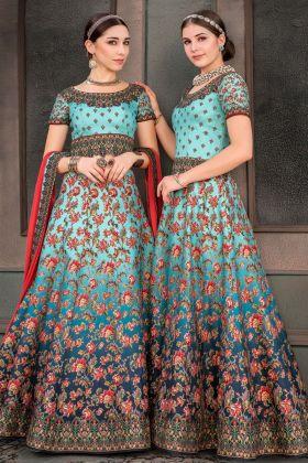 Sky Blue Pure Heritage Silk Lehenga Dress