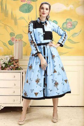 Sky Blue Rayon Fabric Readymade Designer Kurti