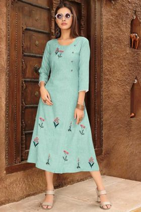 Sky Blue Rayon Viscose Fabric Designer Kurti