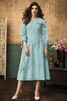 Sky Blue Satin Cotton Kurti Design