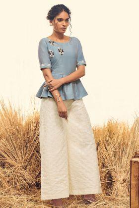 Sky Blue Soft Silk Indo Western Kurti