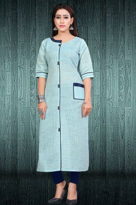 Sky Blue South Cotton Ladies Kurti
