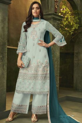 Sky Blue Super Net Palazzo Salwar Suit In Embroidered Work