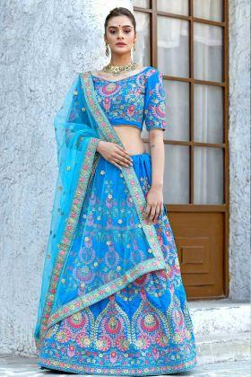 Sky Blue Velvet Bridal Lehenga Choli Online