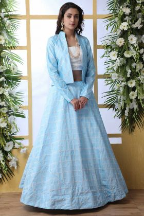 Sky Blue Wedding Lehenga Choli With Short Jacket