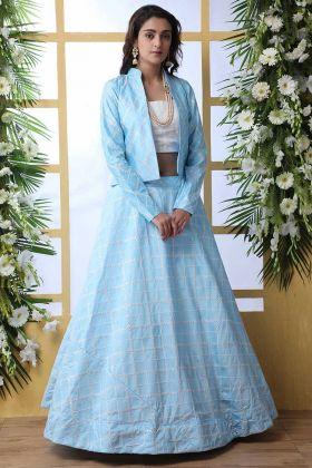 Sky Blue Wedding Lehenga Choli With Short Jacket