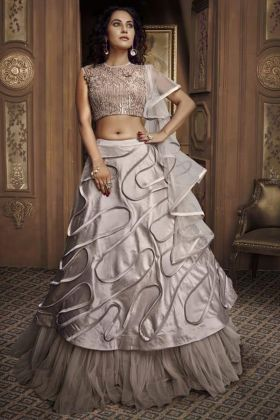 Sliver Grey Net Designer Lehenga With Embroidery Work