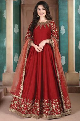 Slub Silk Red Color Party Wear Floor Length Suit