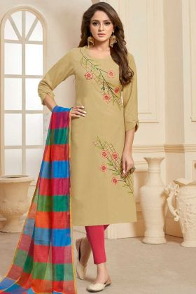 Slub Cotoon Dress Material Beige Color With Embroidery Work