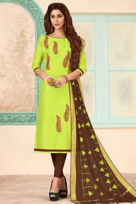 Slub Cotton Chudidar Salwar Kameez Green Color