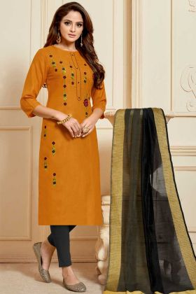 Slub Cotton Churidar Salwar Suit Orange Color With Embroidery Work