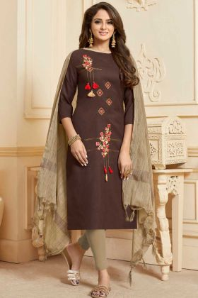 Slub Cotton Dress Material Embroidery Work In Brown Color