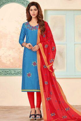 Slub Cotton Straight Salwar Kameez Blue Color
