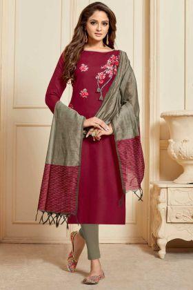 Slub Cotton Straight Salwar Suit Embroidery Work In Maroon Color