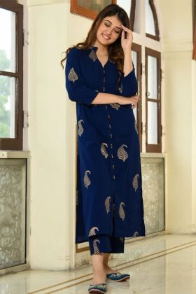 Slub Cotton Wedding Palazzo kurti Set Foil Print Work In Navy Blue Color