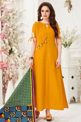 Slub Cotton Yellow Festive Gown