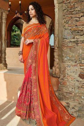 Slub Silk and Georgette Wedding Saree Resham Embroidery Work In Orange and Pink Color