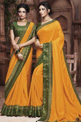 Soft Art Silk Ladies Saree In Mustard Yellow