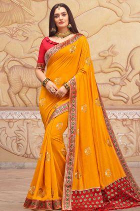 Soft Art Silk Mustard Yellow Designer Saree