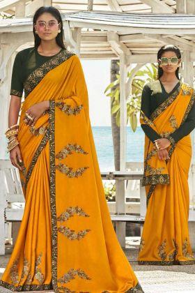 Soft Art Silk Mustard Yellow Saree For Wedding